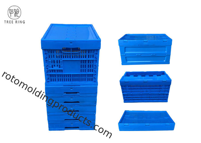 45 Liter Grated Wall Heavy Duty Collapsible Storage Crate Utility Basket Tote Bins For Packing